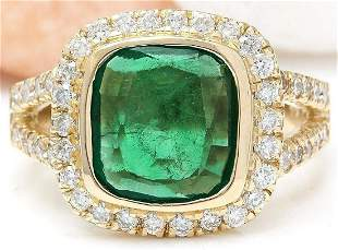 5.28 CTW Natural Emerald 18K Solid Yellow Gold Diamond