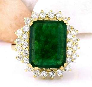 6.60 CTW Natural Emerald 18K Solid Yellow Gold Diamond