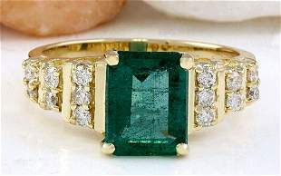 2.55 CTW Natural Emerald 18K Solid Yellow Gold Diamond