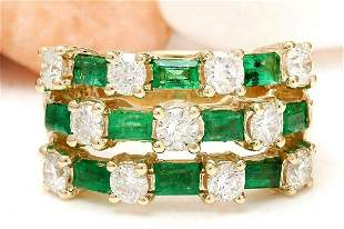 2.70 CTW Natural Emerald 18K Solid Yellow Gold Diamond