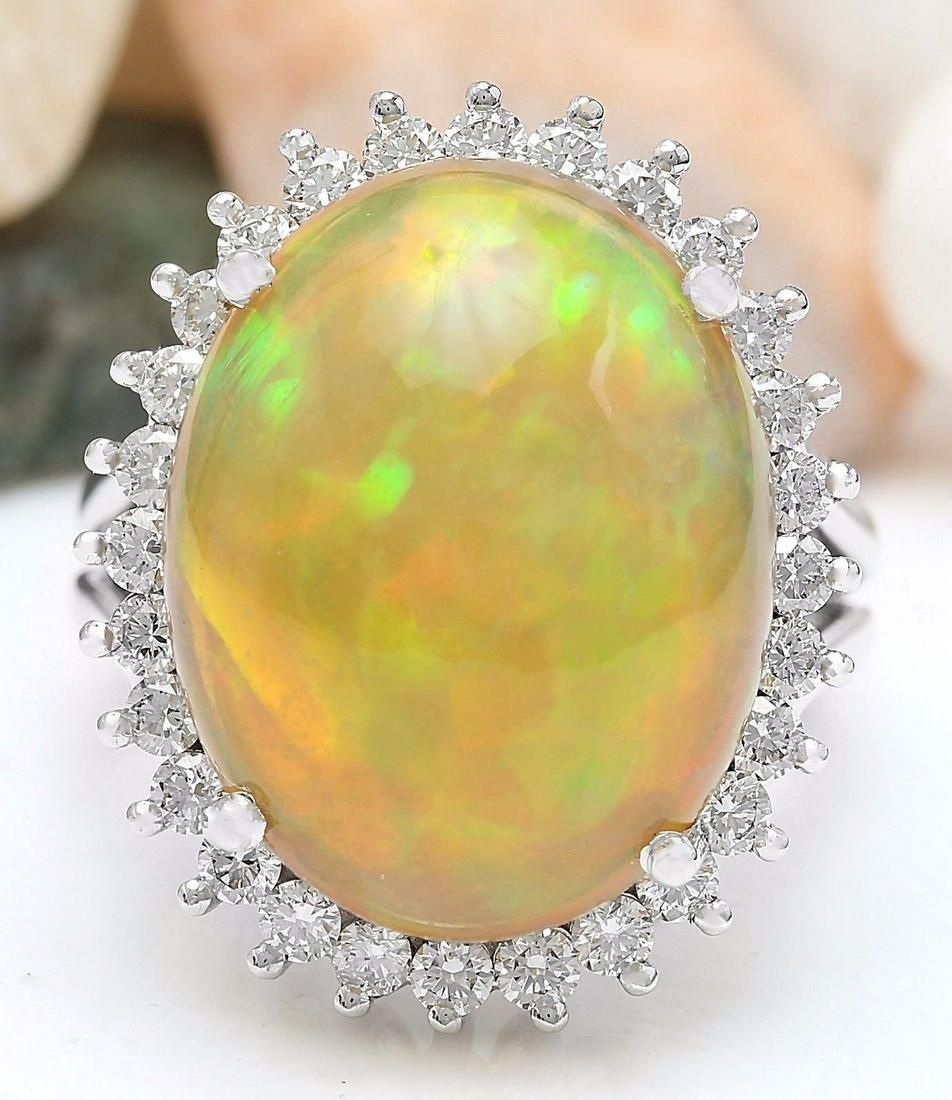 13.48 CTW Natural Opal 18K Solid White Gold Diamond