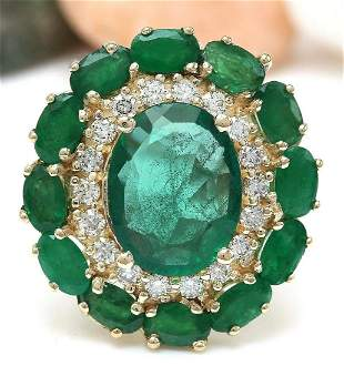 6.97 CTW Natural Emerald 18K Solid Yellow Gold Diamond