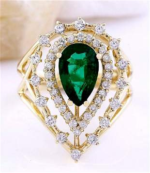 2.40 CTW Natural Emerald 18K Solid Yellow Gold Diamond