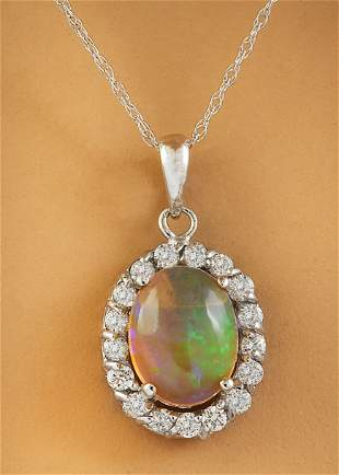 2.00 CTW Opal 14K White Gold Diamond Necklace