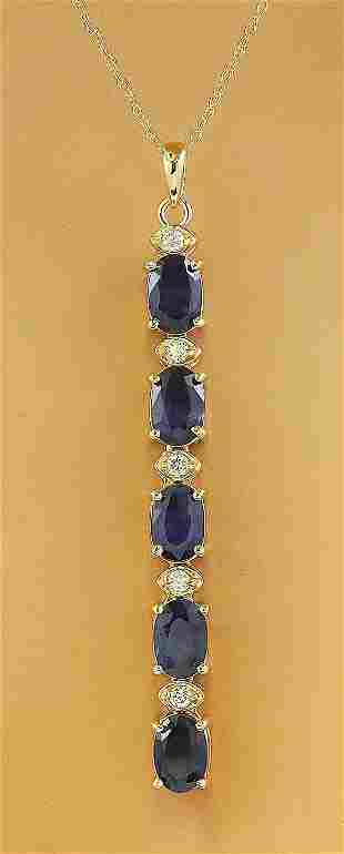 4.50 CTW Sapphire 14K Yellow Gold Diamond Necklace