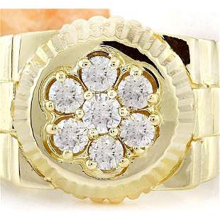 0.70 CTW Natural Diamond 18K Solid Yellow Gold Ring