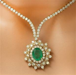 11.33 CTW Natural Emerald 18K Solid Yellow Gold Diamond