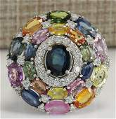 10.83CTW Natural Ceylon Sapphire And Diamond Ring In18K