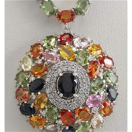 56.60 CTW Natural Ceylon Sapphire And Diamond Necklace