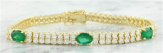 7.32 CTW Emerald 18K Yellow Gold Diamond Bracelet