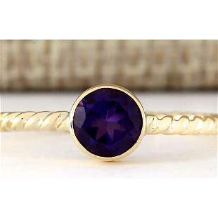 1.00 CTW Natural Amethyst Ring In 18K Yellow Gold