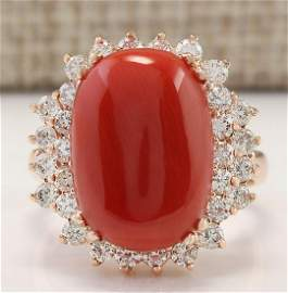 9.53 CTW Natural Coral And Diamond Ring In 18K Rose