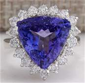 8.12 CTW Natural Blue Tanzanite And Diamond Ring In 14K