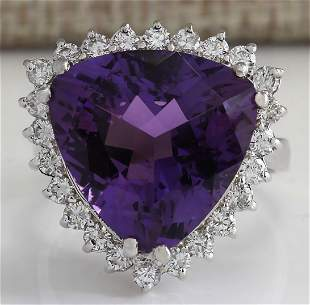 10.85 CTW Natural Amethyst And Diamond Ring In 18K