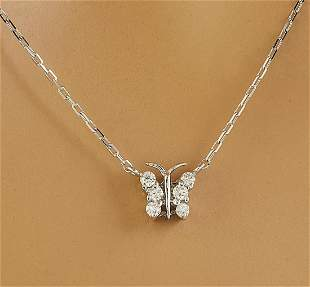 0.20 CTW Diamond 18K White Gold Butterfly Necklace