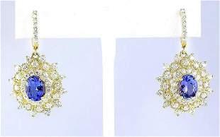 7.20 CTW Natural Tanzanite And Diamond Earrings 14k