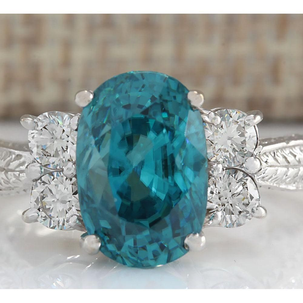 7.07 CTW Natural Blue Zircon And Diamond Ring 14K Solid