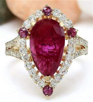 4.52 CTW Natural Ruby 18K Solid Yellow Gold Diamond