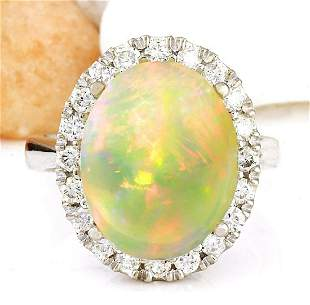 7.50 CTW Natural Opal 14K Solid White Gold Diamond Ring