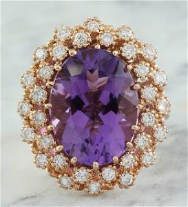 10.19 CTW Amethyst 14K Rose Gold Diamond Ring