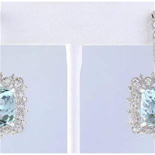 17.29 CTW Natural Aquamarine And Diamond Earrings 18K