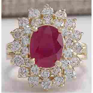 5.72 CTW Natural Ruby And Diamond Ring 18K Solid Yellow