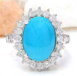 7.00 CTW Natural Turquoise 14K Solid White Gold Diamond
