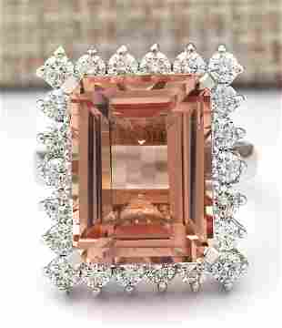 15.08 CTW Natural Morganite And Diamond Ring In 14K