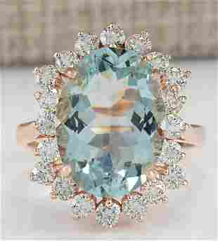 6.41 CTW Natural Aquamarine And Diamond Ring In 18K