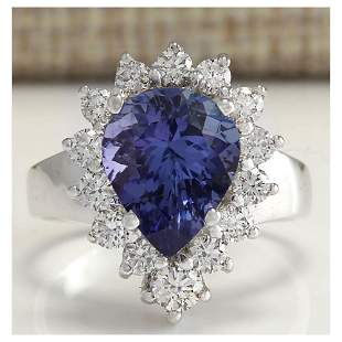 5.10CTW Natural Tanzanite And Diamond Ring 18K Solid