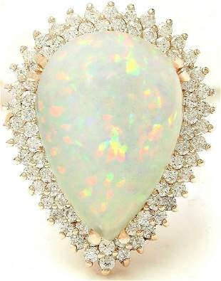 13.18 CTW Natural Opal 14K Solid Yellow Gold Diamond