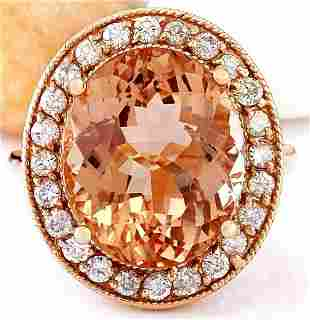 10.90 CTW Natural Morganite 18K Solid Rose Gold Diamond