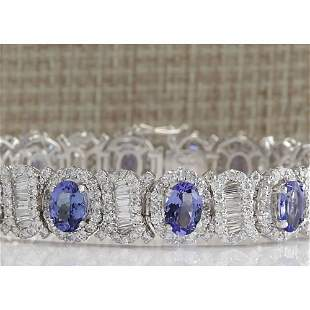 24.70 CTW Natural Tanzanite And Diamond Bracelet In 14K