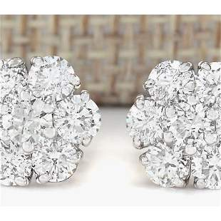 2.50 CTW Natural Diamond Earrings 18K Solid White Gold