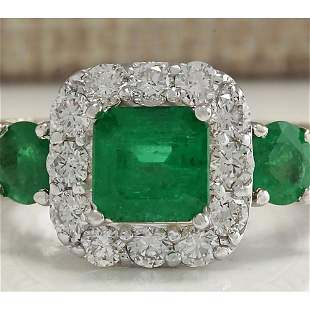 3.24 CTW Natural Emerald And Diamond Ring 18K Solid