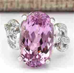 13.86 CTW Natural Kunzite And Diamond Ring In 14k White