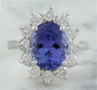 4.74 CTW Tanzanite 14K White Gold Diamond Ring
