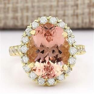 8.79 CTW Natural Morganite And Diamond Ring In 14K