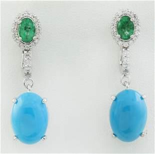 10.65 CTW Turquoise Emerald 14K White Gold Diamond