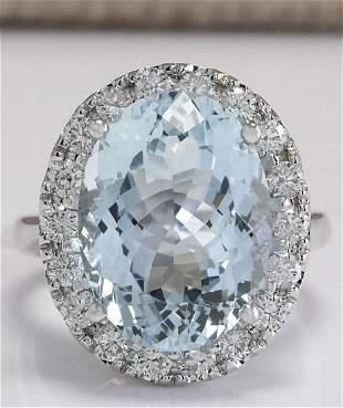 9.84 CTW Natural Aquamarine And Diamond Ring In 14K