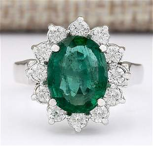 3.43 CTW Natural Emerald And Diamond Ring In 18K White