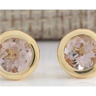 2.00 CTW Natural Morganite Earrings 18K Solid Yellow