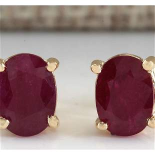 1.80 CTW Natural Red Ruby Earrings 14K Solid Yellow