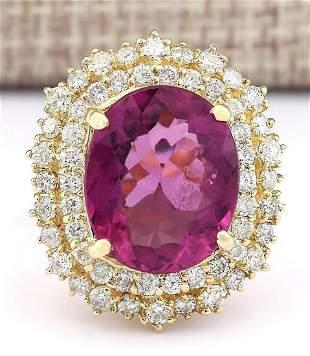 9.60 CTW Natural Pink Tourmaline And Diamond Ring 14k