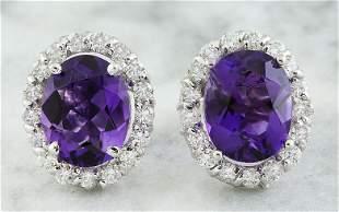 3.79 CTW Amethyst 14K White Gold Diamond Earrings