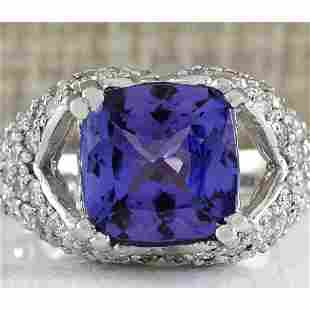 6.32 CTW Natural Tanzanite And Diamond Ring In 14K