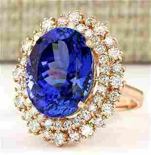 13.49 CTW Natural Tanzanite And Diamond Ring In 14k