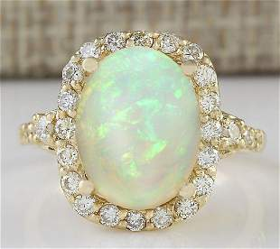 4.40 CTW Natural Opal And Diamond Ring In18K Yellow
