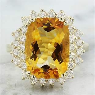 8.80 CTW Citrine 14K Yellow Gold Diamond Ring