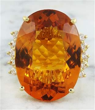 32.40 CTW Citrine 14K Yellow Gold Diamond Ring